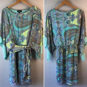 AGB Dress | Chiffon Paisley Belted Feminine Dress